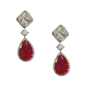Diamond Ruby Drop Earrings