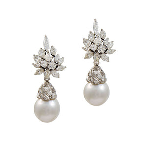 Simulated diamond & pearl drop earrings, Earrings - Ratnalij_jewels