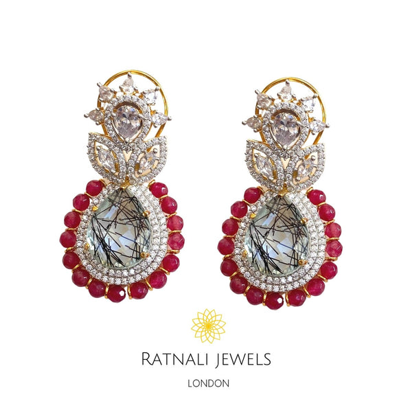Statement diamond Earrings with Ruby Beads