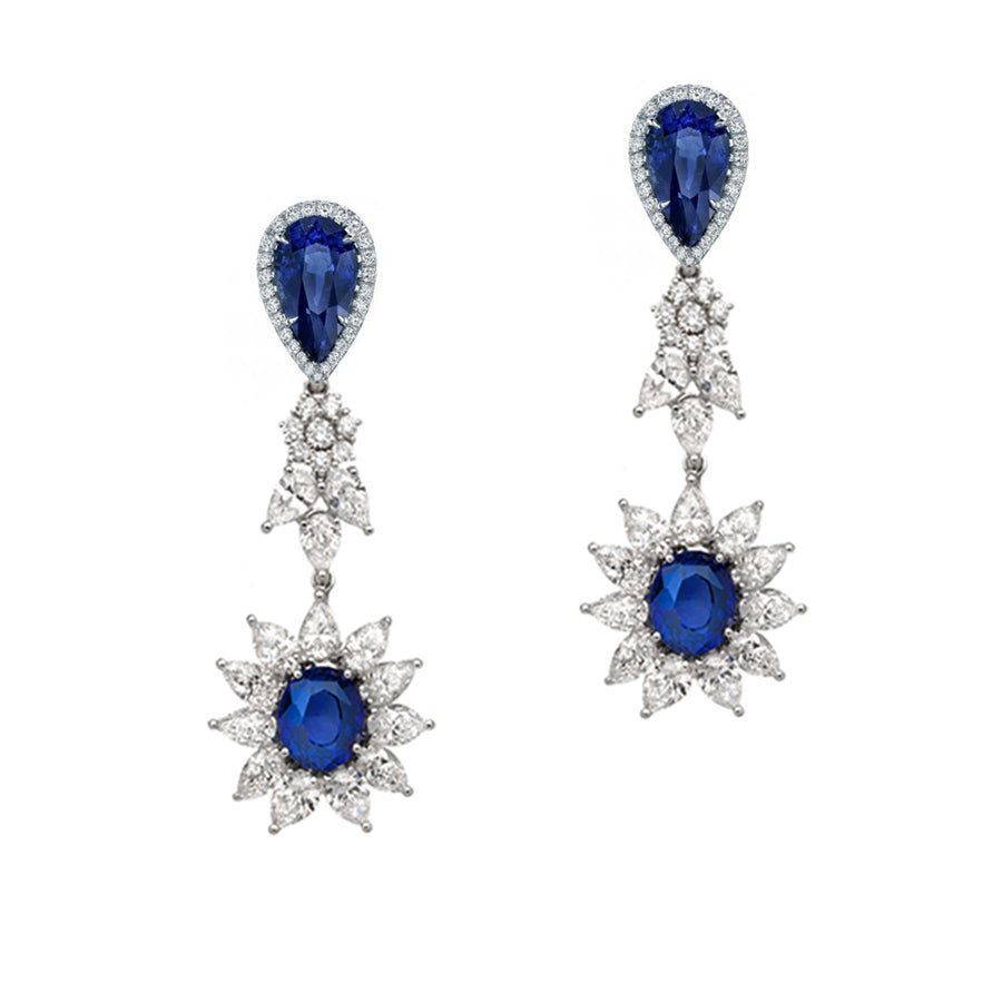Simulated diamond and synthetic saphire long drop chandelier earrings, Earrings - Ratnali Jewels