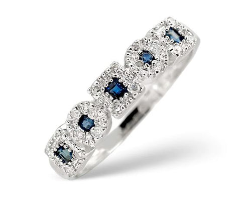 Sapphire 0.18ct And Diamond 9K White Gold Ring | Shop on the AMAZON link
