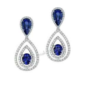 Shiva simulated diamond & blue gem stone dangler earrings, Earrings - Ratnalij_jewels
