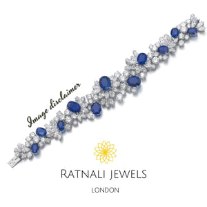 Nilima Simulated Diamond and created Sapphire Gemstone Tennis Bracelet