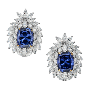 Arcane Simulated Diamond and Blue Sapphire Stud Earrings, Studs - Ratnali Jewels