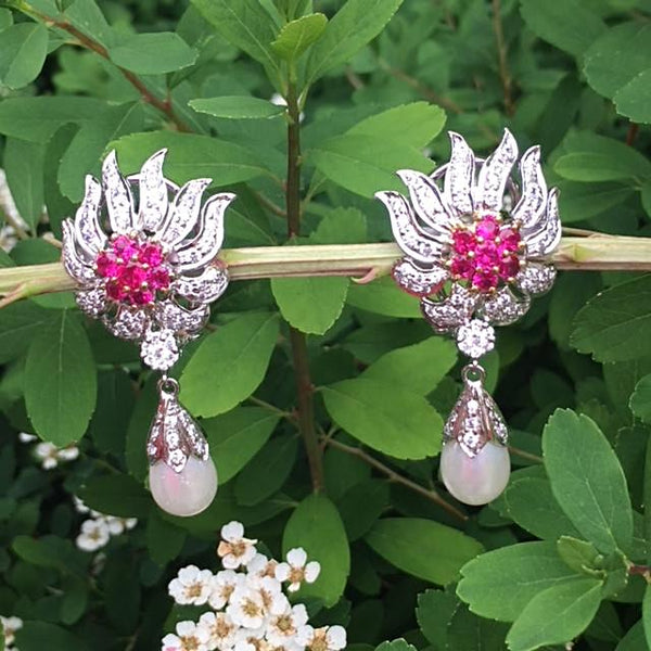 Simulated diamond & ruby pearl drop earrings, Earrings - Ratnali Jewels