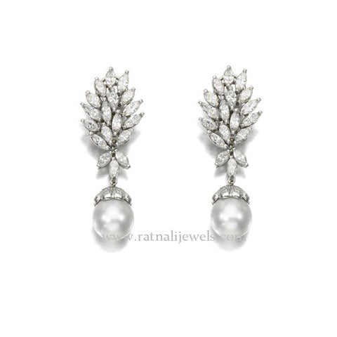 Lulit | Simulated Diamond and Pearl Drop Earrings