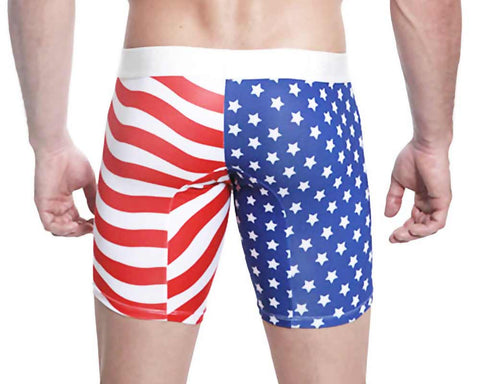 Mensuas MN0864 USA Flag Long Boxer