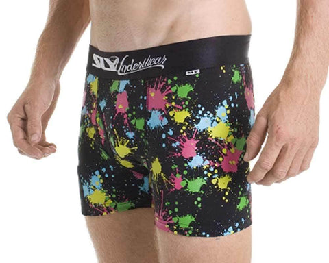 SLY SLYBUSPBW  SPLATTER BLACK Work Boxer Brief