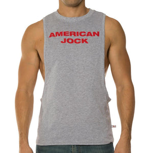 American Jock AJ8776 Gym Air Tee Heather Grey/RoyalBlue