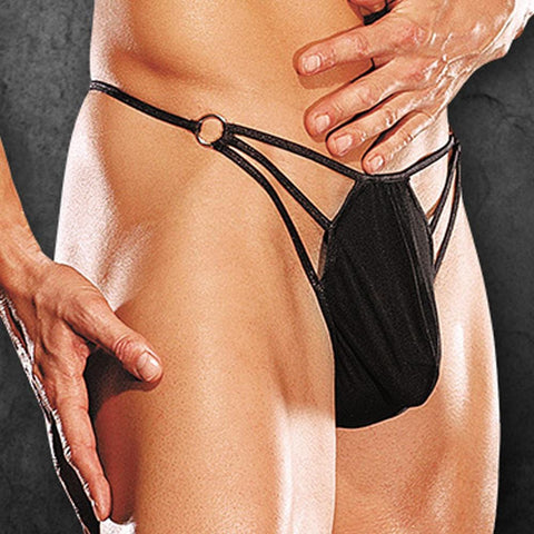 Male Power PAK828 Nylon Spandex G-Thong with Straps & Rings