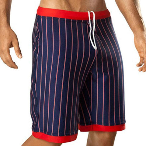 Vuthy 317 Navy with Red Waist Swim Board Shorts
