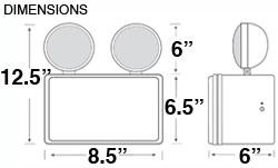 Chicago Wet Location Emergency Light Dimensions