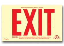 Glow In The Dark Exit Sign - Non-Electrical Operation