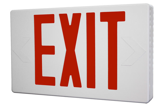 LED Exit Sign with Red Letters, White Housing, and Battery Backup