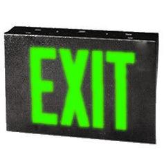 Exit Sign, Galvanized Steel - Green LED - Single Faced - Black - Specifier Grade
