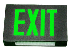 Exit Sign, Steel - Green LED - Black Housing - Battery Backup