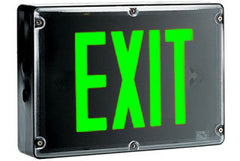 Exit Sign, NEMA 4X - Green LED - Black Housing (w/Battery Heater Options)
