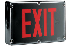 Exit Sign, NEMA 4X - Red LED - Black Housing (w/Battery Heater Options)