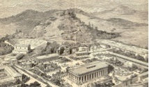 Drawling of the Acropolis in greece