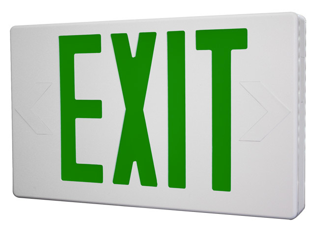 Thermoplastic green exit sign used for buildings.