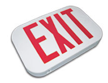 Red thermoplastic exit sign, used for low profile applications in buildings.