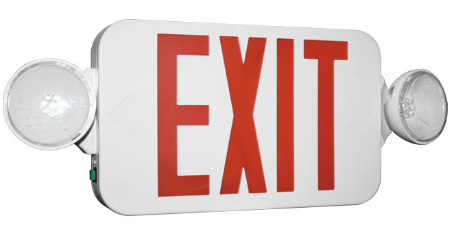 Exit sign combo unit. The Emergency Lights are LED.