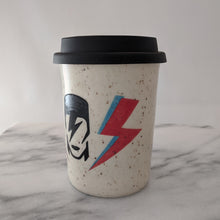 Load image into Gallery viewer, Bowie travel mug in speckled clay with a black silicone lid