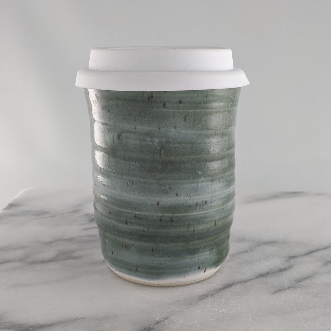 Green & Blue over White Speckled Travel Mug