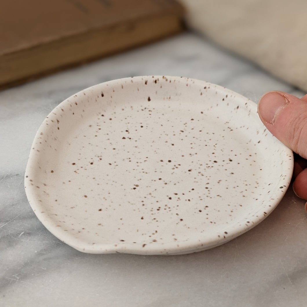 Speckled White Spoon Rest