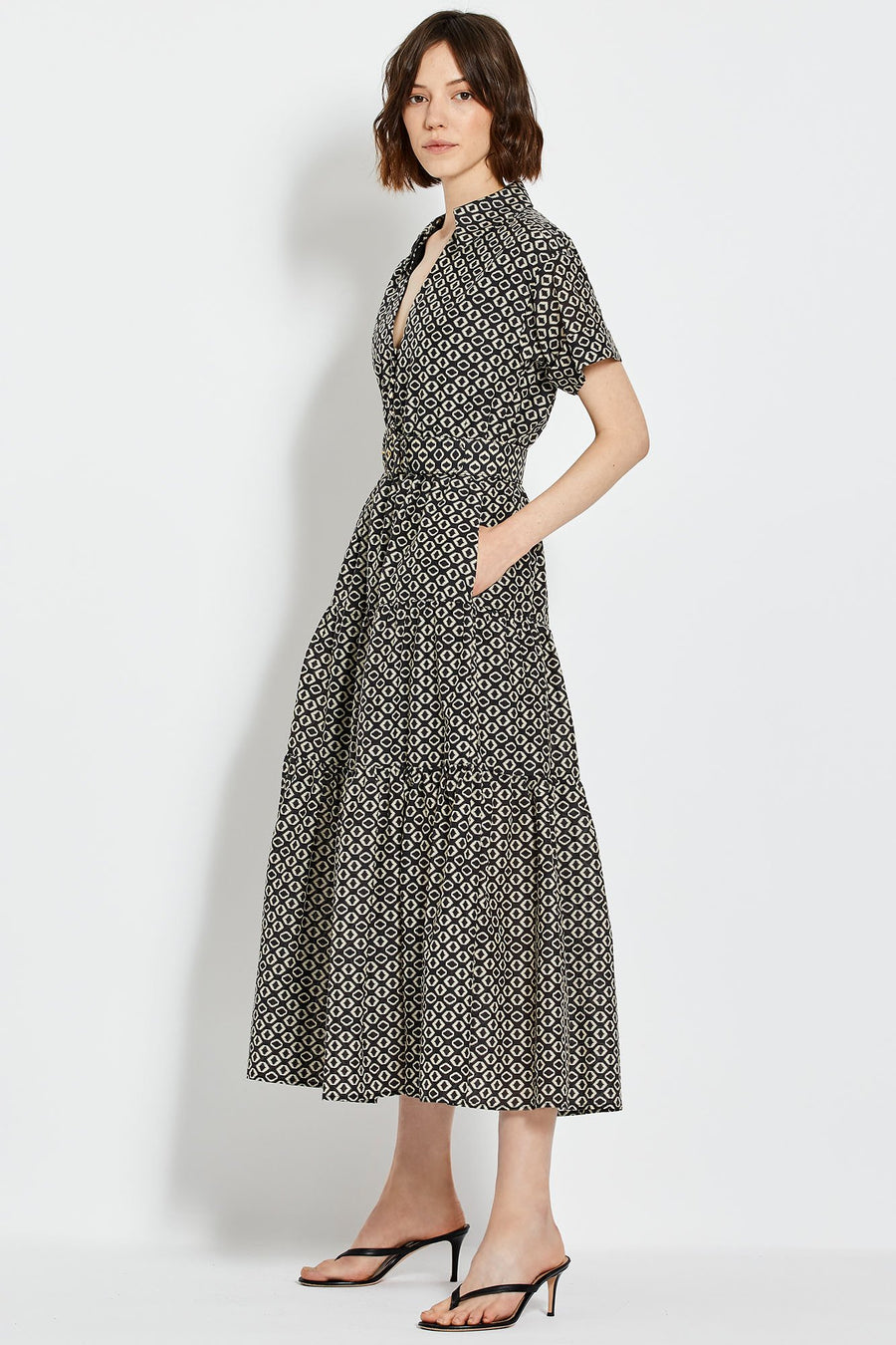 Amina Dress - Black Ikat Diamond