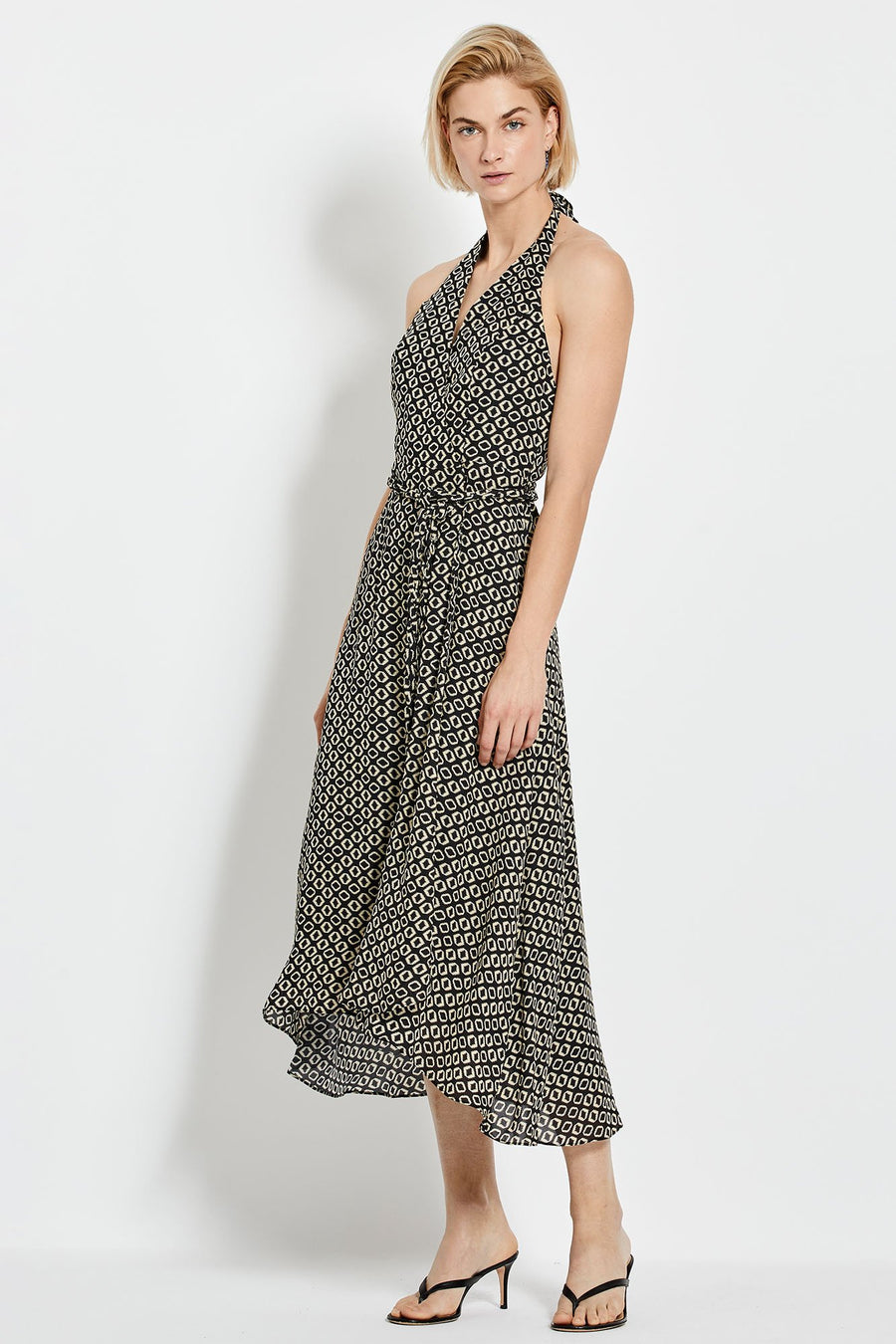 Cynthia Dress - Black Ikat Diamond