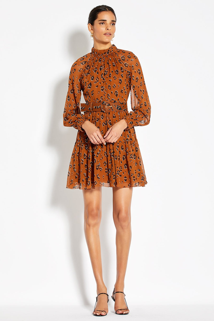 High Neck Button Mini Dress - Light Tobacco Leopard