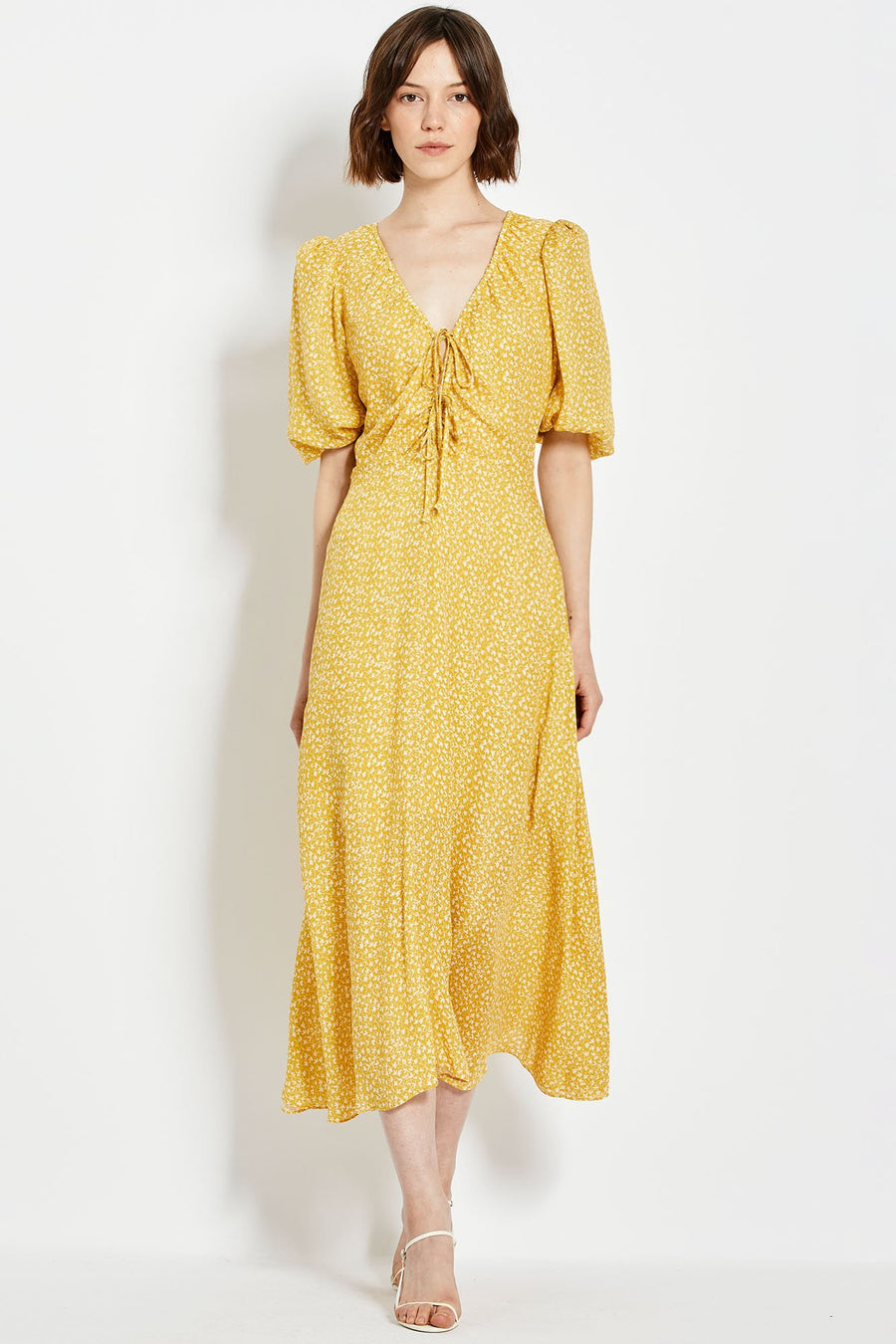 Danielle Dress - Custard Vine Ditsy