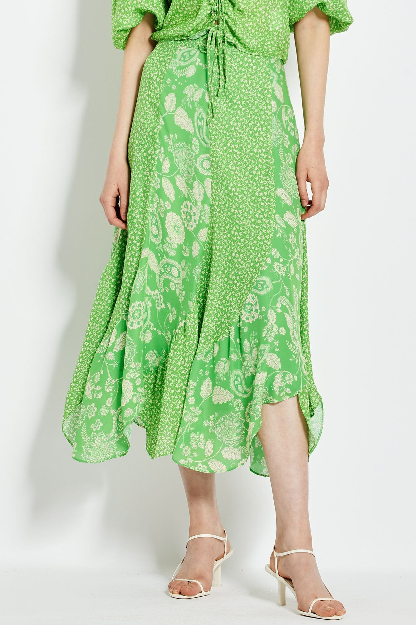 Debbie Skirt - Leaf Vine Paisley Mix