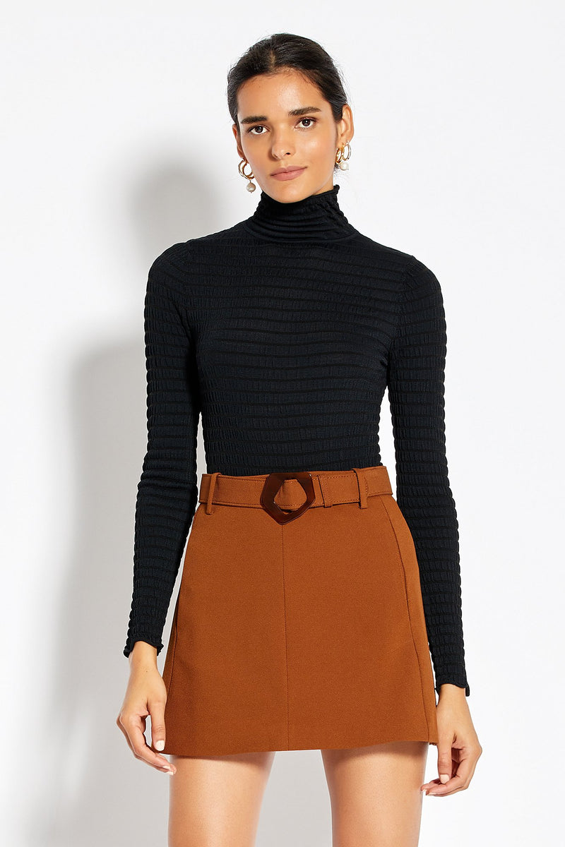 Smocked Turtleneck - Black