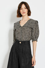 Kara Top - Black Ikat Diamond