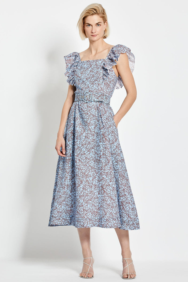 Kelly Dress - Slate Blue Thyme Print