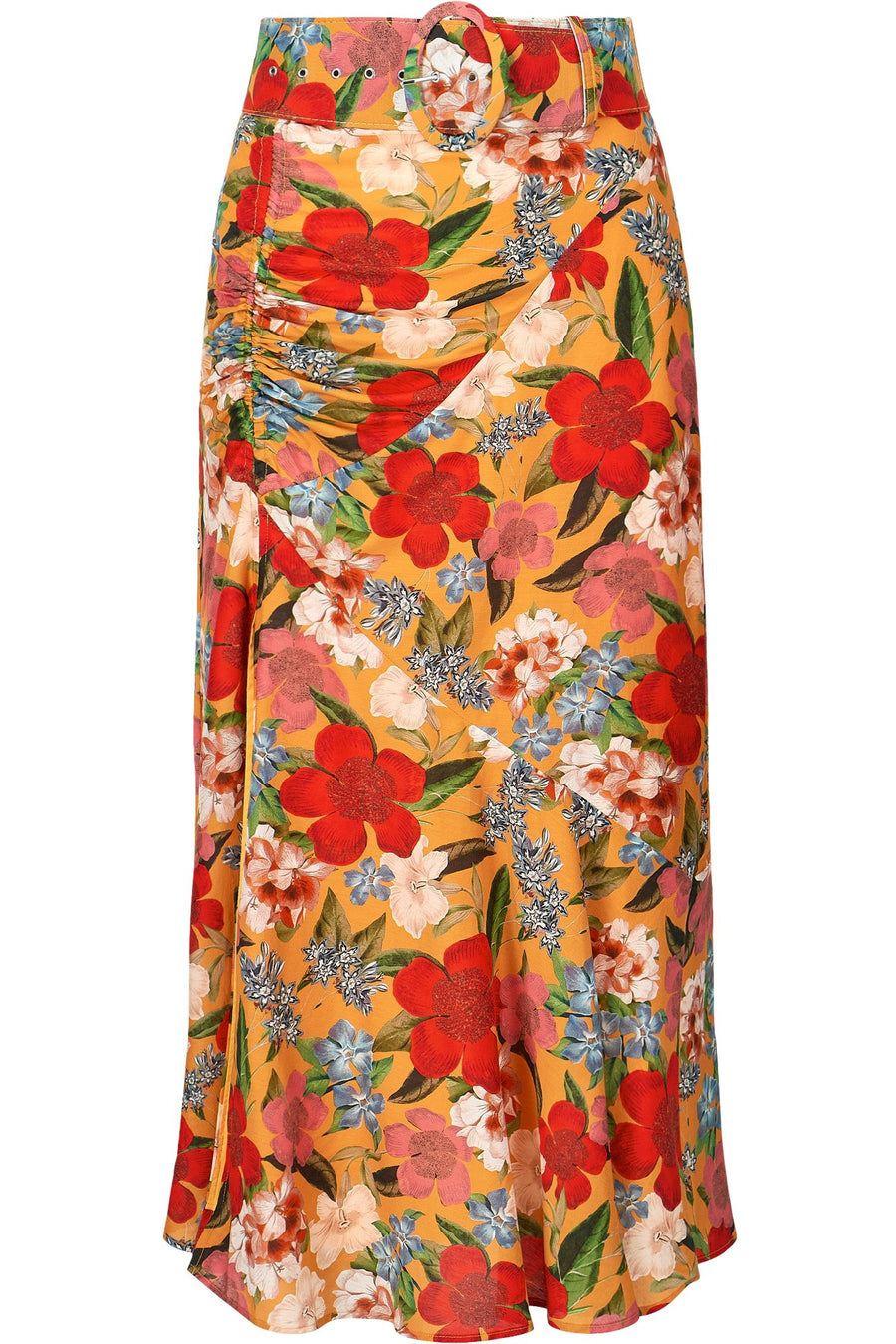 Side Gathered Skirt - Tangerine Multi