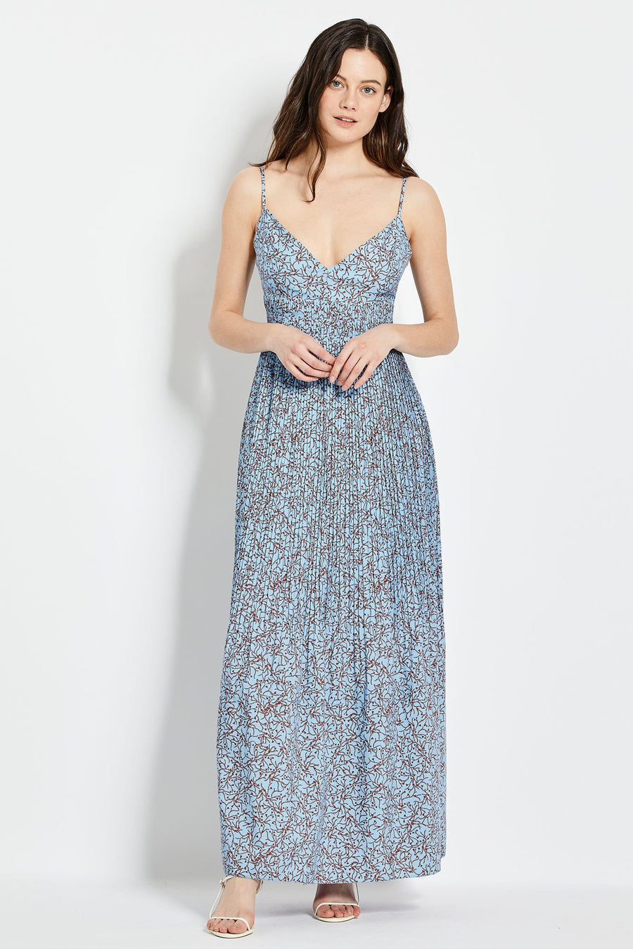 Susan Dress - Slate Blue Thyme Print