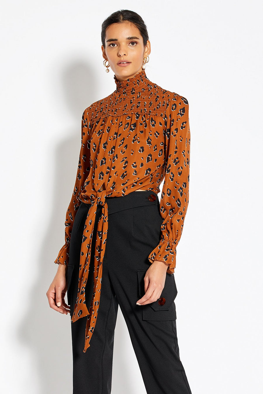 Gathered Front Blouse - Light Tobacco Leopard