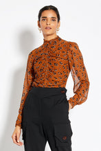 High Neck Smocked Top - Light Tobacco Leopard