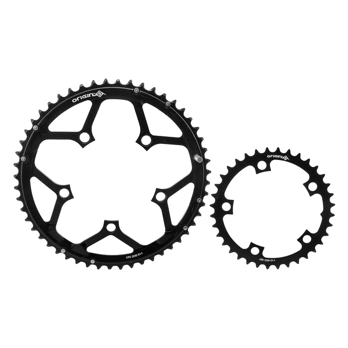 ORIGIN8 Thruster 110mm BCD Set 110mm 5-Bolt 36/52T AL2014 2x Black Chainring