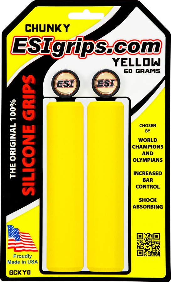 ESI 32mm Chunky Lightweight Silicone MTB Grips Yellow