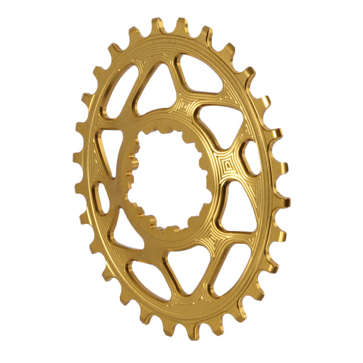 Absolute Black Spiderless GXP (Boost/3mm) DM Oval chainring, 28T - gold