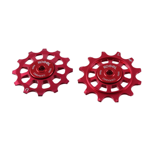 Kogel Bearings 12/12T Hybrid Ceramic Pulley Set Shim 11, Cross - Red