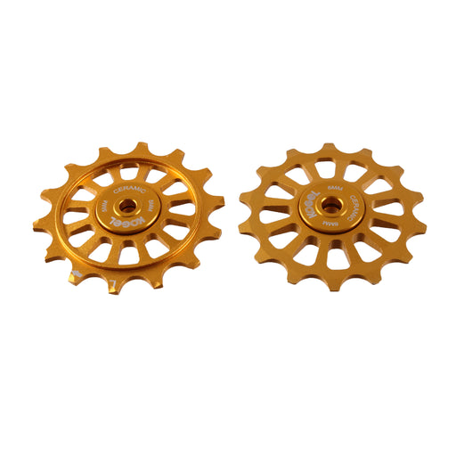 Kogel Bearings 14/14T Hybrid Ceramic Pulley Set SRAM 12, Cross - Gold