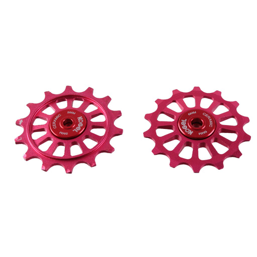 Kogel Bearings 14/14T Hybrid Ceramic Pulley Set SRAM 12, Cross - Red