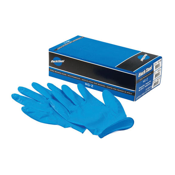 Park Tool MG-2L Nitrile Mechanic Work Gloves: Large Blue - Box of 100 Gloves