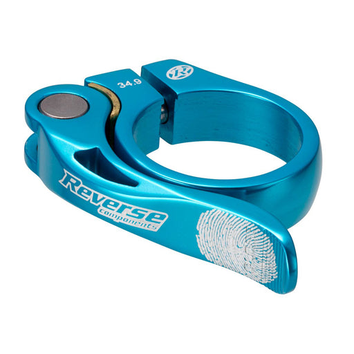 Reverse Long Life Q/R Seatpost Clamp, Light Blue 34.9mm Diameter