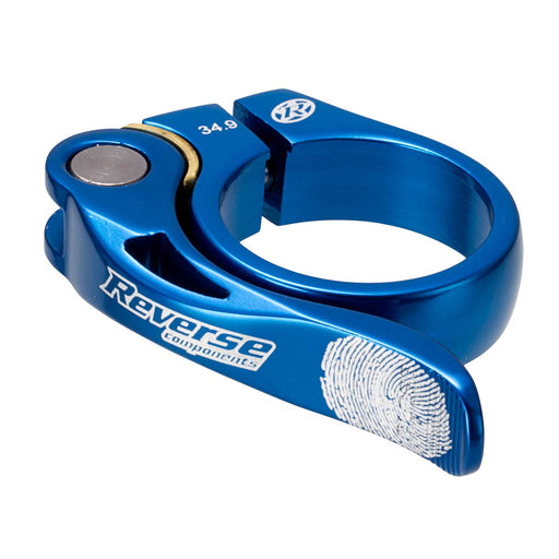 Reverse Long Life Q/R Seatpost Clamp, Blue 34.9mm Diameter